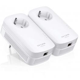 Kit Inicial Powerline Con Puerto Ethernet Gigabit y Enchufe Incorporado, Velocidad de Datos 1200Mbps,