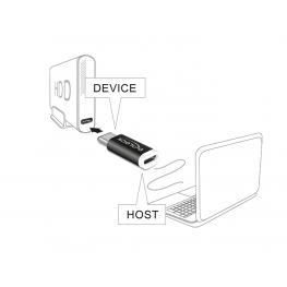 Adapter Usb Type-C™ St (Device)  Usb Micro B Buchse (Host) Schwarz Delock