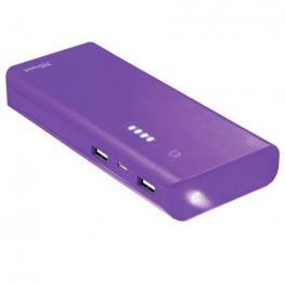 Batería Externa Trust Urban Purple Primo Powerbank 10000Mah - Usb 5W/1A + Usb 10W/2.1A - 2Xcable Microusb - Func. Linterna - Universal