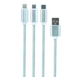 Cable Trenzado de Carga Usb 3 En 1, Lightning 8P, Micro Usb y Type-C, Plata, 1Mt, Blister