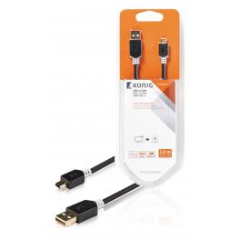 Cable Usb 2.0 de A Macho A Mini de 5 Pines Macho de 3,00 M
