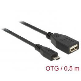 Cable Usb Micro-B Macho  Usb 2.0-A Hembra Otg 50 Cm