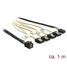 Delock Cable Mini Sas Hd Sff-8643  4 X Inversión Sata de 7 Contactos + Banda Lateral de 1 M