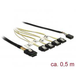 Delock Cable Mini Sas Sff-8087  4 X Inversión Sata de 7 Contactos + Banda Lateral de 0,5 M