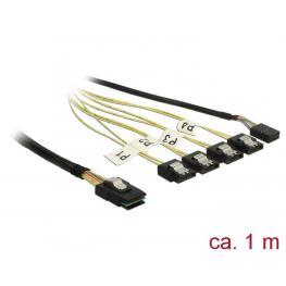 Delock Cable Mini Sas Sff-8087  4 X Inversión Sata de 7 Contactos + Banda Lateral de 1 M