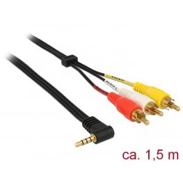 Delock Cable Stereo Jack 3.5 Mm 4 Pin Male Angled  3 X Rca Male 1.5 M