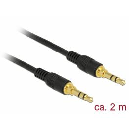 Delock Conector de Cable Estéreo de 3,5 Mm de 3 Pines Macho  Macho 2 M Negro