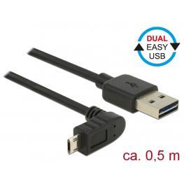 Kabel Easy Usb 2.0-A  Easy Micro-B Oben/unten Gewinkelt Stecker/stecker 0,5 M Delock