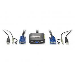 Kvm-0223 - Conmutador Automatico Level One V/t/m 1A 2 Cpu  Usb Con Audio Cables Incluidos