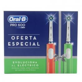 Pack 2 Cepillos Dentales Braun Oral-B Pro600 Oferta Especial - Naranja + Verde - Limpieza 3D - Proteccion Encias - Temporizador 2Min