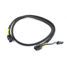 Pci-Express 6-Pin Male To 6+2 Pin Male Power Cable, 0.8 M, Mesh Jacket