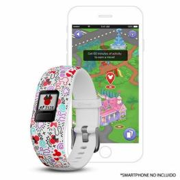 Pulsera Cuantificadora Infantil Garmin Vivofit Jr 2 Minnie Mouse Blanco - Pantalla Color - Bt - Batería Hasta 1 Año - Comp. Android/iphone - Resistent