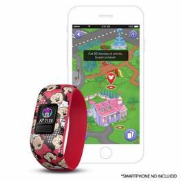 Pulsera Cuantificadora Infantil Garmin Vivofit Jr 2 Minnie Mouse Rojo - Pantalla Color - Bt - Batería Hasta 1 Año - Comp. Android/iphone - Resistente