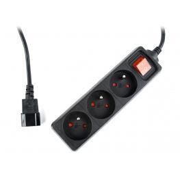 Regleta Ups, 3 Enchufes Schuko, Interruptor Fusionado, 16 A, Enchufe C14, Cable de 0.6 M, Negro