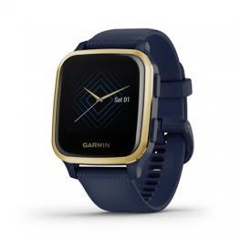Reloj Deportivo Con Gps Garmin Venu Sq Music Edition Light Gold / Correa Silicona Azul - Pantalla 3.31Cm - Multisport - Control Salud - 5Atm