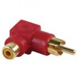Stereo Audio Adapter Angled 90° Rca Male - Rca Female Rojo