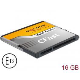 Tarjeta  Cfast-Card Sata 6 Gb/s Wt 16Gb Mlc -40°c - +85°c Delock