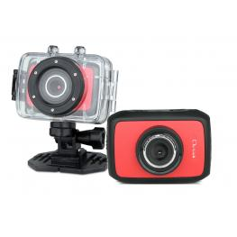Video Camara Deportiva Hd, Roja 5Mp Sumergible