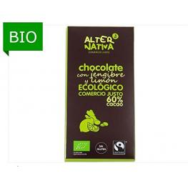 Chocolate 60% Con Jengibre y Limon S/g 80 Gr Bio