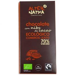 Chocolate 70% Con Nibs de Cacao S/g 80 Gr Bio