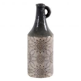 Botella ø12X33 Cm Ceramica Gris Craqueada