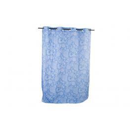 Cortina Poliester 140X270 170Gr Floral Azul