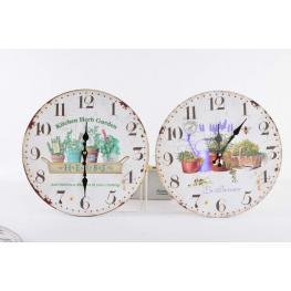 Reloj Pared Madera 34Cm Jardin 2 Surt.