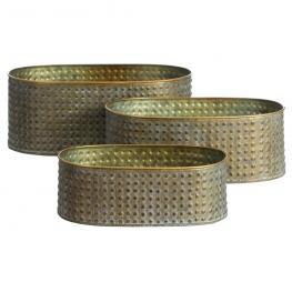 S/3 Macetero Oro Viejo Metal Jardín 33 X 20,30 X 13 Cm