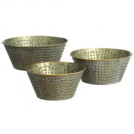 S/3 Macetero Oro Viejo Metal Jardín 26,20 X 26,20 X 11,50 Cm