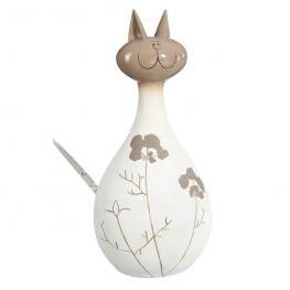 Figura Gato Crema-Marrón Cerámica 15 X 13 X 33 Cm