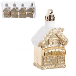 S/4 Casas Decorada Plástico Oro 6 Cm