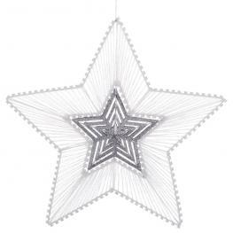 Estrella Metal Blanco-Plata 30 X 3 X 30 Cm