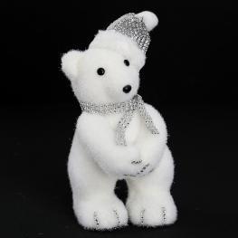 Oso Diamantes Blanco Decoración Navidad 14 X 16 X 27 Cm