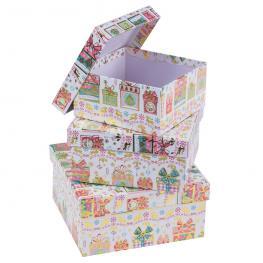 S/3 Cajas Cuadradas Cartón 16,50 X 16,50 X 8 Cm