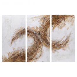 Pintura Abstracto 3/m Blanco-Marrón 60 X 3 X 120 Cm
