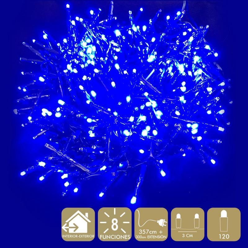 120 Luces Led 8 Funciones Azul