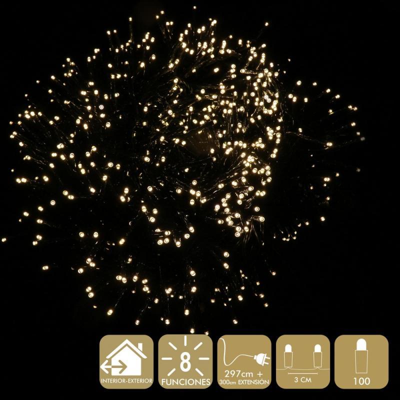 100 Luces Led 8 Funciones Cálido