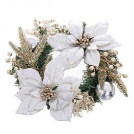Corona ''Poinsettia'' Tejido Plata 35 Cm
