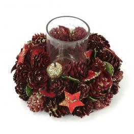 Portavelas Estrellas Decoración Navidad 14 X 14 X 9 Cm