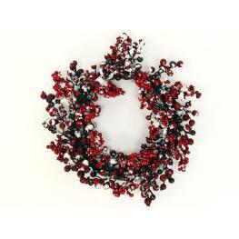 Corona Acebo Nevado Decoración Navidad 45 X 45 X 9 Cm