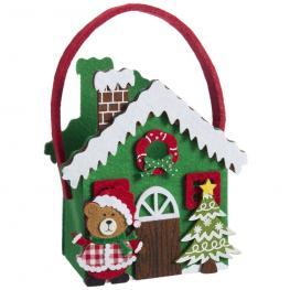 Bolso Casa Fieltro Decoración Navidad 15 X 9 X 23 Cm