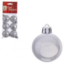 S/6 Bolas Perla Plástico Plata 4 X 4 X 4 Cm