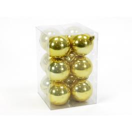 S/12 Bola Perla Oro Decoración Navidad 13,50 X 13,50 X 20,50