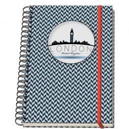 Dohe Cuaderno Espiral Mod. Vesta City London Din A-5 C/goma 5X5 10700