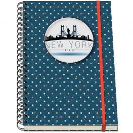 Dohe Cuaderno Espiral Mod. Vesta City New York Din A-5 C/goma 5X5