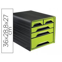 Fichero Cajones de Sobremesa Cep 5 Cajones Mixtos Verde/negro 360X288X270 Mm.