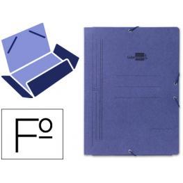 Carpeta Liderpapel Gomas Folio 3 Solapas Carton Pintado Azul Cg01