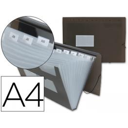 Carpeta Liderpapel Clasificador Fuelle 32115 Polipropileno Din A4 Negra Transparente 13 Departaments