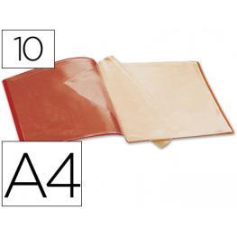 Carpeta Liderpapel Escaparate 37900 10 Fundas Polipropileno Din A4 Roja