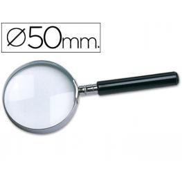 Lupa Cristal Aro Metalico Mango Negro W-102 50 Mm